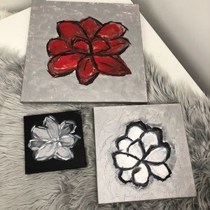 3 canvas flower paintings handmade